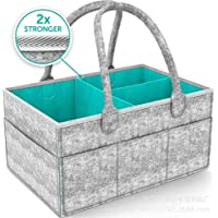 Lemonda Portable Large Baby Diaper Caddy Organizer Tote,Nursery Diaper Caddy Storage Bin,Gray Felt Basket Infant Girl Boy,Baby Shower Gift Basket Idea and Toy Storage