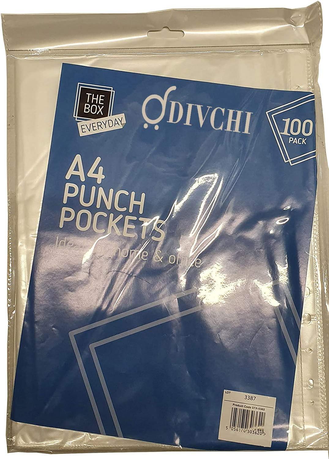 Divchi Lot de 100 pochettes perfor/ées en plastique transparent A4 pour dossiers et pochettes