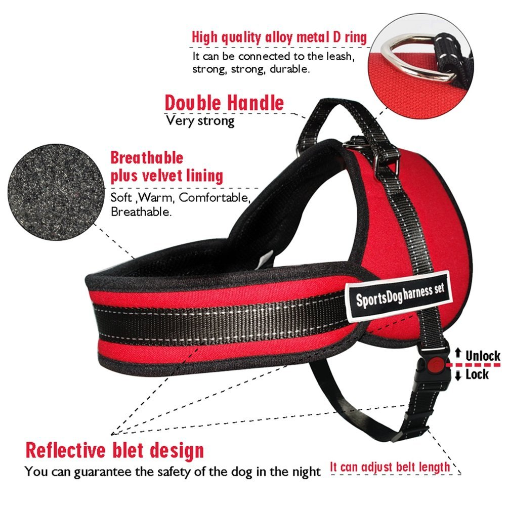 Red L Red L JIM Reflective Padded Dog Harness Pet Breathable Mesh Nylon Harnesses with Handle and D Ring for Medium Large Dogs