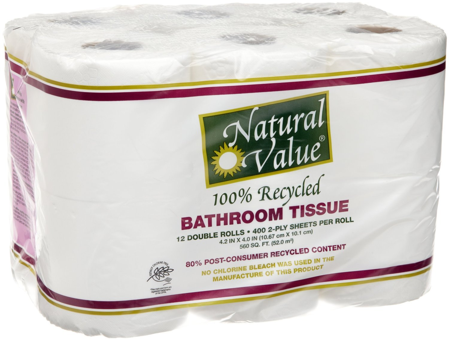 Natural Value Bathroom Tissue Double Roll 2ply 400 sheets 12pack 100% Recycled Paper (a)
