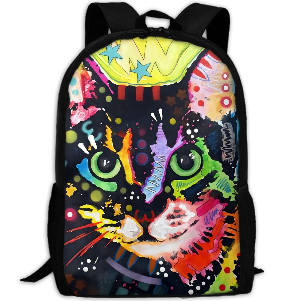 CY-STORE Colorful Doodle Cat Print Custom Casual School Bag Backpack Travel Daypack Gifts