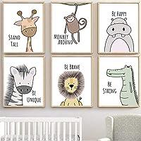MAQ Baby Jungle kwekerij muurdecoratie kunstfoto's, 30x21cm ongekaderde Cartoon Safari Animal muur muurschilderingen…