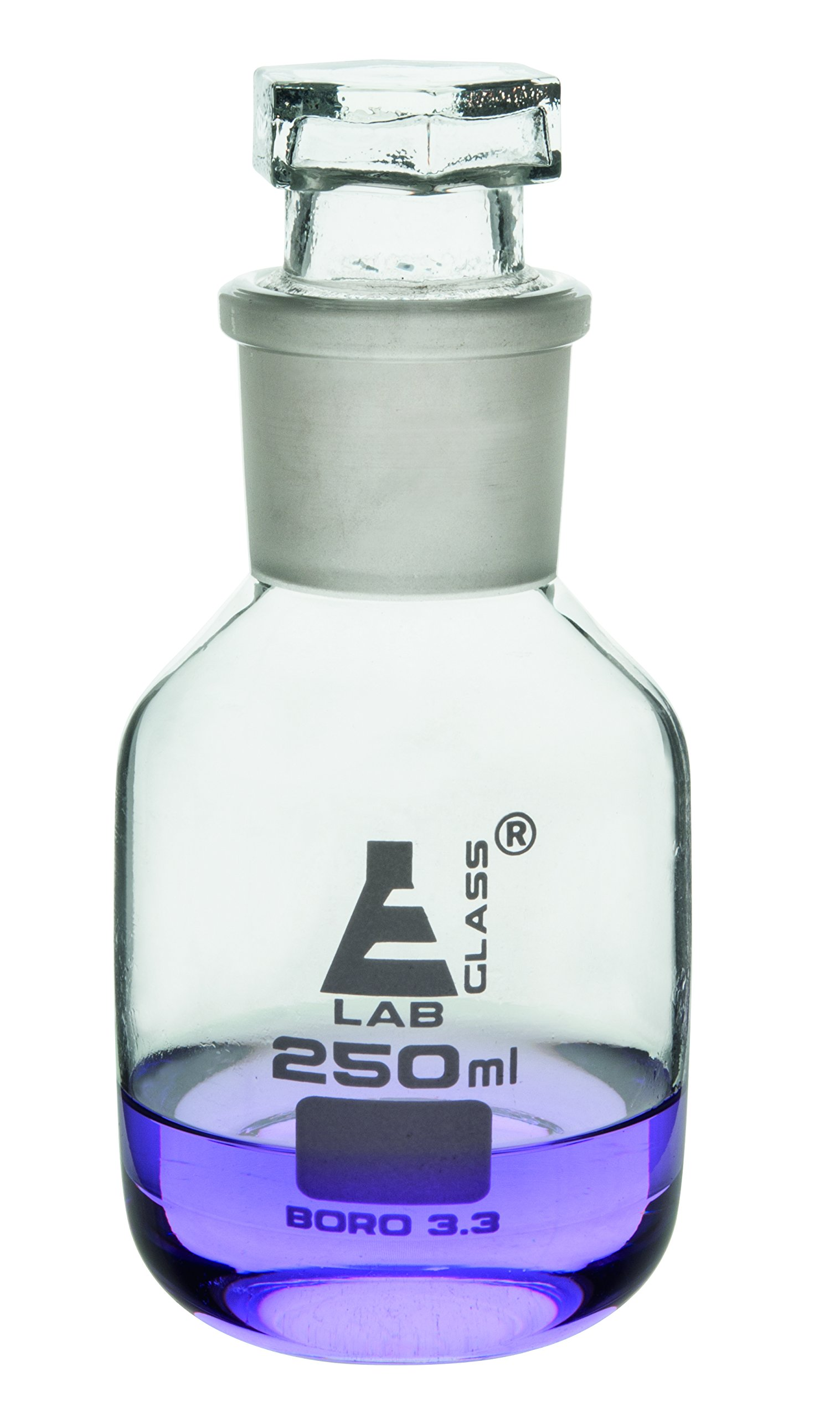 Eisco Labs 250ml Reagent Glass Bottle - Wide mouth with Stopper by EISCO