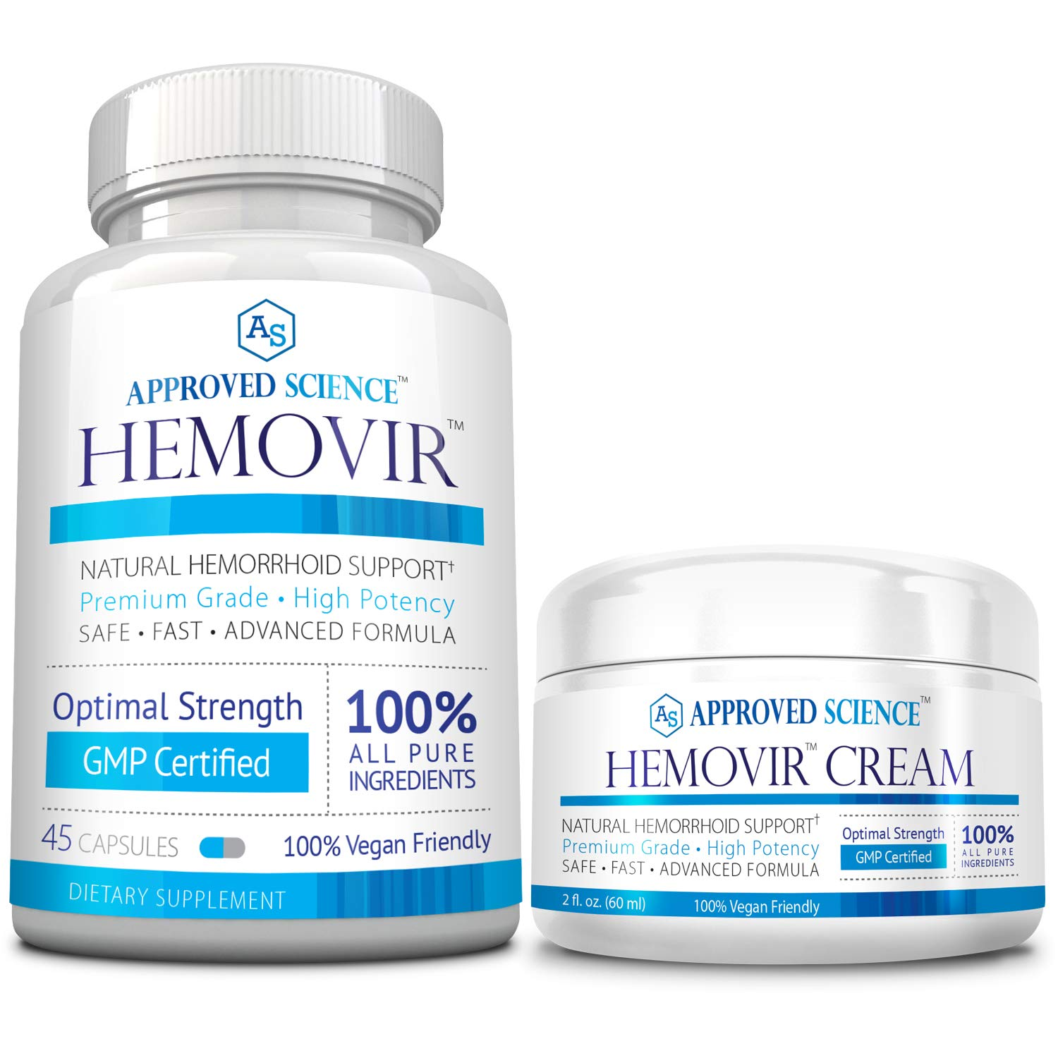 Hemovir - Best Hemorrhoid & Fissure Treatment for Rapid Healing; Reduce Itching, Irritation, Bleeding & Burning 100% Natural Ingredients - 1 Bottle & 1 Cream by Approved Science