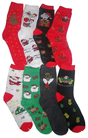 Amazon.com: Christmas 6-Pair/12-Pair Pack Family Socks -Many ...