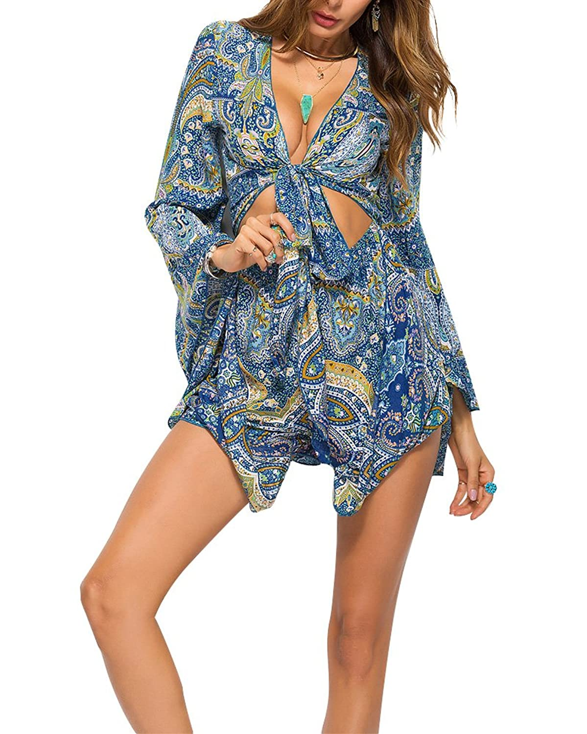 Acelyn Women's Boho V Neck Print Romper Playsuit With Long Flare Sleeves Jumpsuits