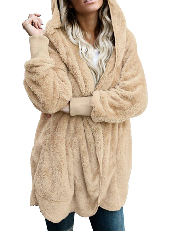 Dokotoo Womens Cozy Ladies Oversized Fuzzy Fluffy Fleece Winter Fall Open Front Long Sleeve Fleece Hoodies Cardigan Sweater Jacket Coat Outwear Khaki Large