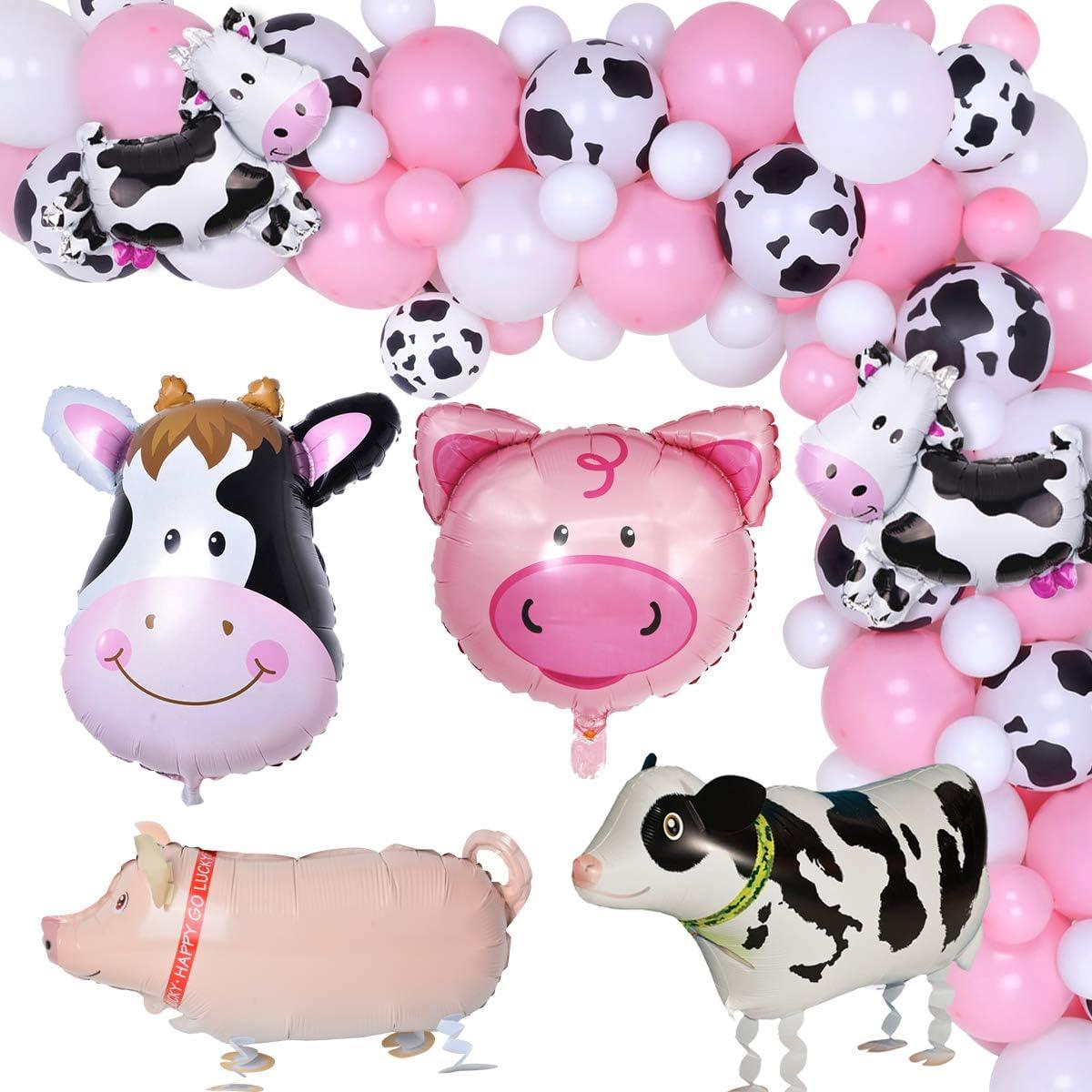 HEETON Cow Birthday Party Decorations Balloon Arch Kit Happy Birthday Banner Cow Balloon Farm Baby Pink Balloons Cow Birthday Party Baby Girl Photo