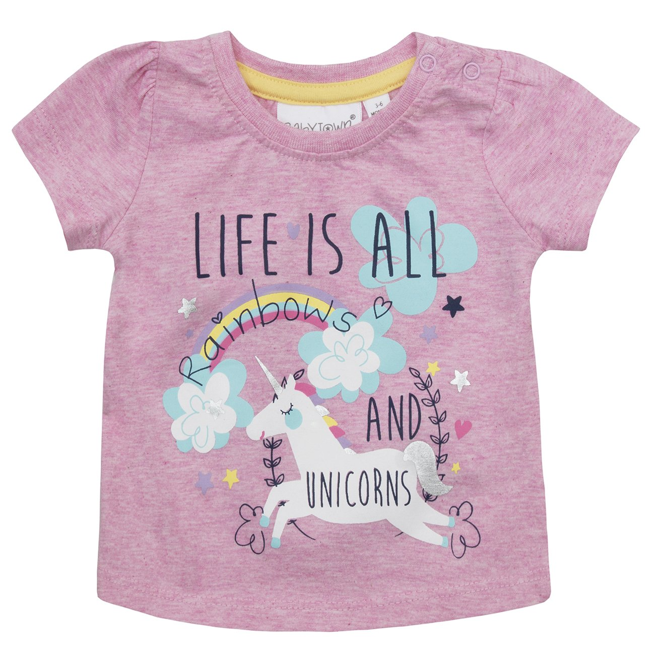 BABY TOWN Baby Girls Printed T-Shirts (Multibuy Options) Cotton Rich Novelty Top Babytown