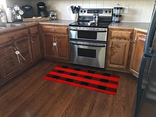 Ukeler Farmhouse Door Mat- Washable Red Black Buffalo Check Layering Door Mats Buffalo Plaid Kitchen Rugs Laundry Room Rug, 23.6 51.2