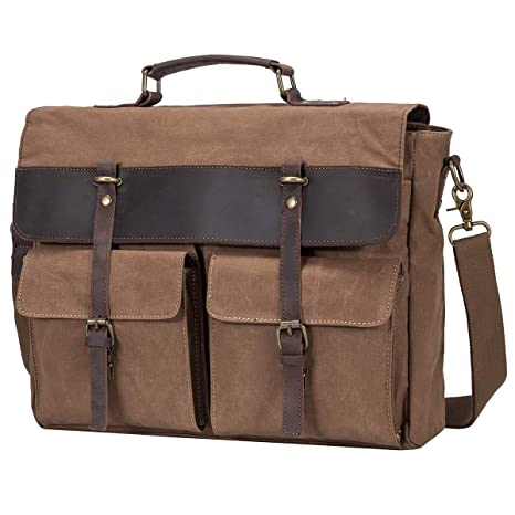 101d8eefd Amazon.com: S-ZONE Canvas Messenger Bag School Satchel Shoulder Bag Mens  Briefcase for 15.6inch Laptop Business Travel Crossbody Bag (Coffee):  Computers & ...