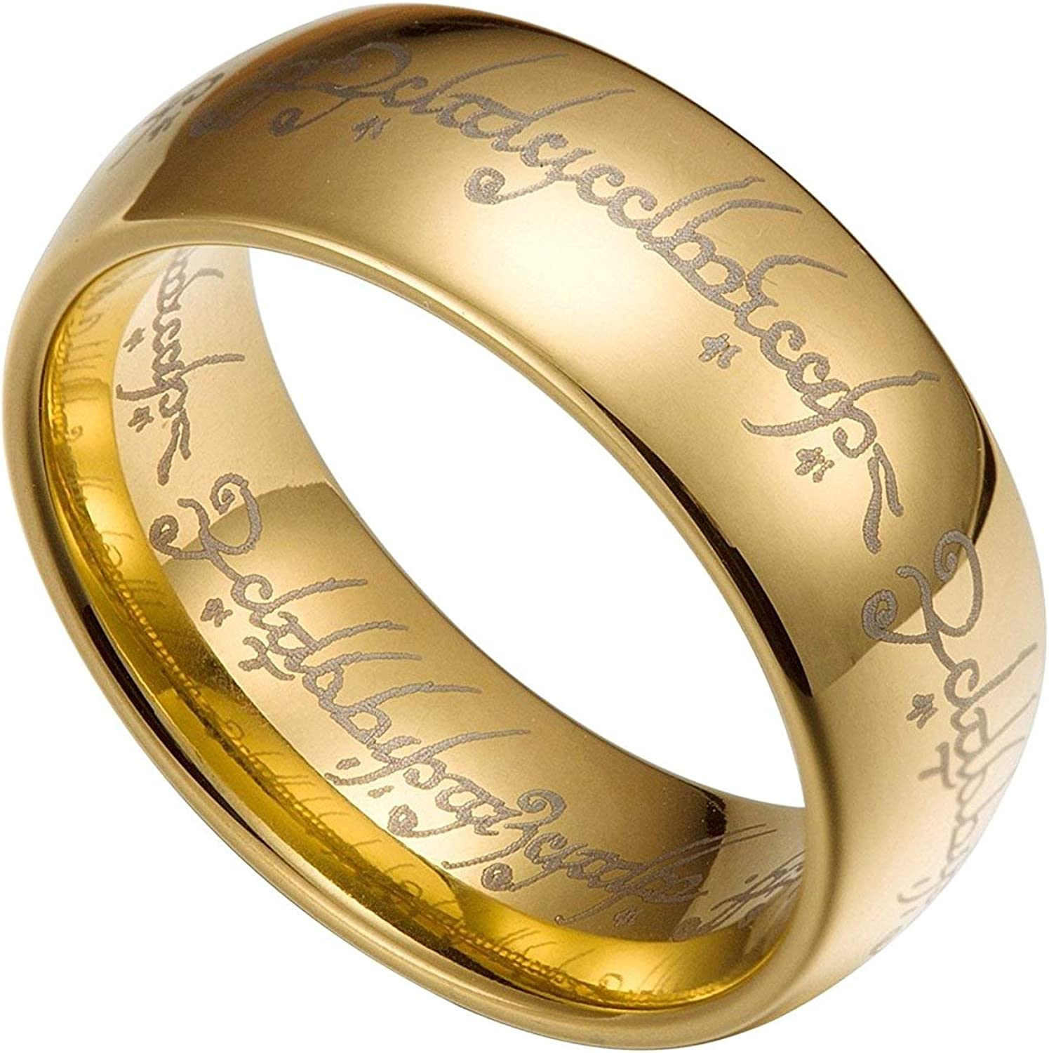 The One Ring Lord Of The Rings Style Tungsten Ring Gold Color Lord Rings Laser