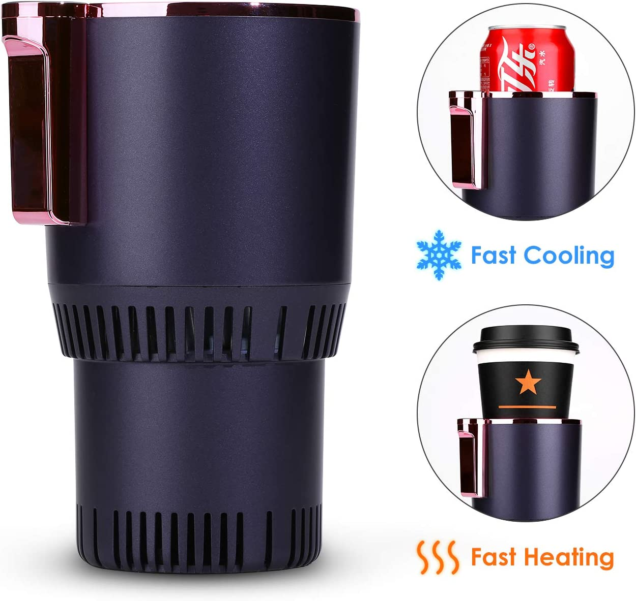 2-in-1 Smart Car Cup Warmer and Cooler, Auto Car Cooling and Heating Cup Mug Holder, Car Seat for Water Coffee Beverage Milk Warmer Heater Cooler for Commuter/Road Tripper Present
