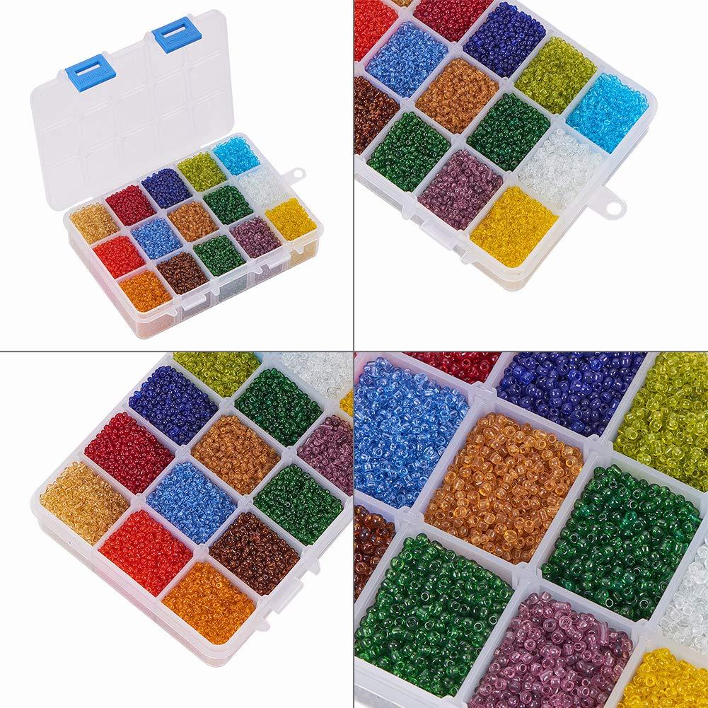 PH PandaHall /Über 21000 st/ücke 15 Farbe 12//0 Transparentem Glas Rocailles 2mm Mini Perlen mit Container Box f/ür Schmuck Machen