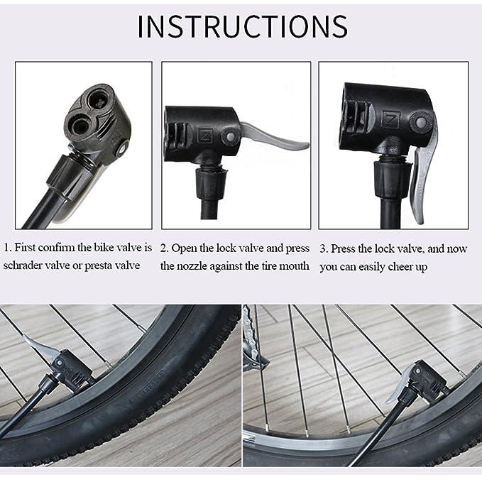 Bomba de aire para bicicleta Letton - Bomba de suelo portátil con pie activado de aleación de aluminio para bicicleta compatible con válvulas Presta ...