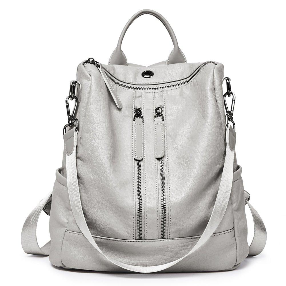 Women Backpack Purse PU Leather Fashion Travel Casual Detachable Ladies Shoulder School Bag gray