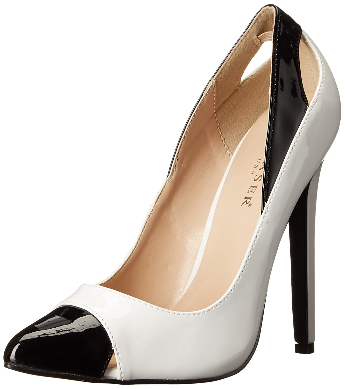 Pleaser Women's SEXY22/W-B Dress Pump B00MH2EVNG 14 B(M) US|White/Black Patent