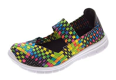 d35f22a1c1f31b Damen Ballerinas geflochten Slipper flach Sneaker elastisch Halb Schuhe  Bunt Multi-Color Sandalen Gr.