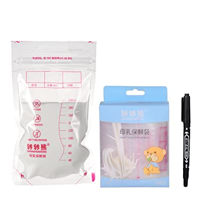 30 Pieces 200ml Seal Breast Milk Storage Bags Breastfeeding Freezer Storage Container Bags Leak Proof with 1 Pen