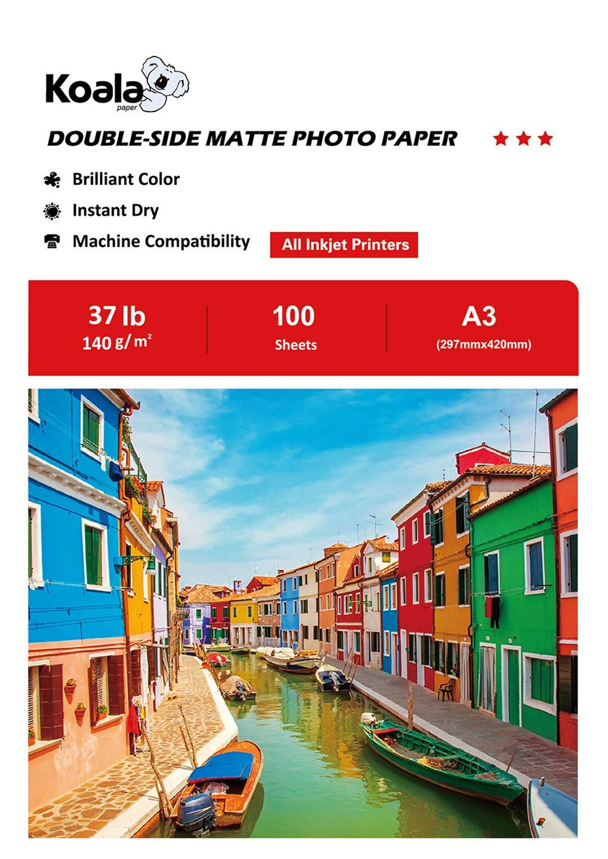 KOALA Double Sided Matte Inkjet Photo Paper A3 297x420mm 100 Sheets 140gsm