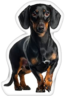 iLeesh Dachshund Black Shaped Pillow