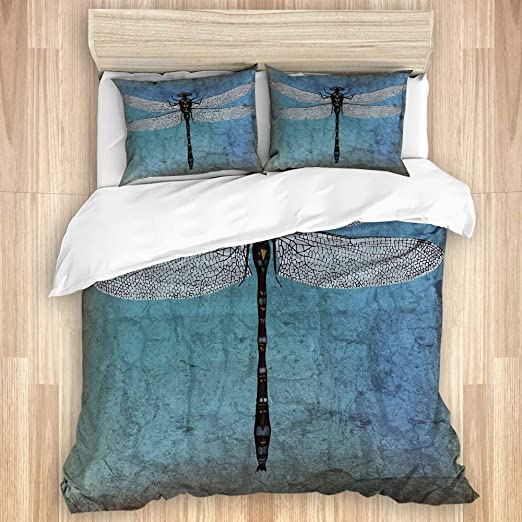 Amazon Com Zomoy Duvet Cover Set Grunge Vintage Old Backdrop And Dragonfly Bug Ombre Image Decorative 3 Piece Bedding Set With 2 Pillow Shams Home Kitchen