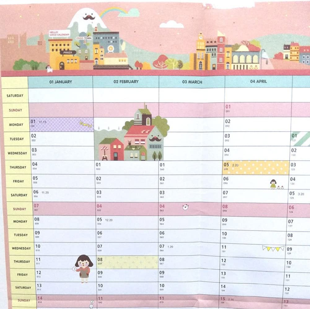 Calendario de mesa de 58 x 43 cm 2018 365 días Calendario de pared Calendario Agenda Libro para estudio y trabajo: Amazon.es: Oficina y papelería