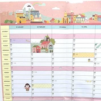 Calendario de mesa de 58 x 43 cm 2018 365 días Calendario de pared ...