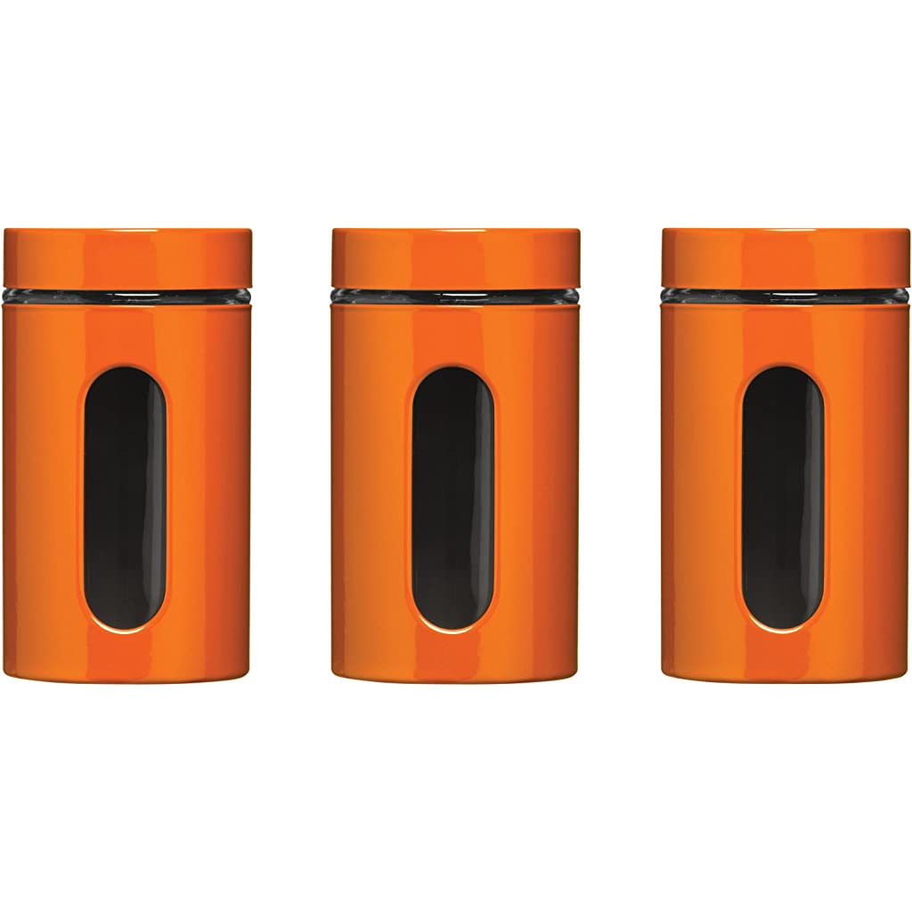Premier Housewares Set of 3 Orange Storage Canisters