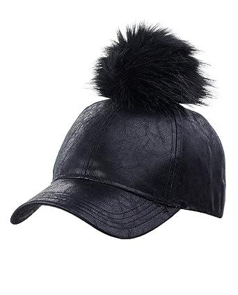 f42a5675893 C.C Distressed Style Precurved PU Leather Baseball Cap w Attachable Pom Pom