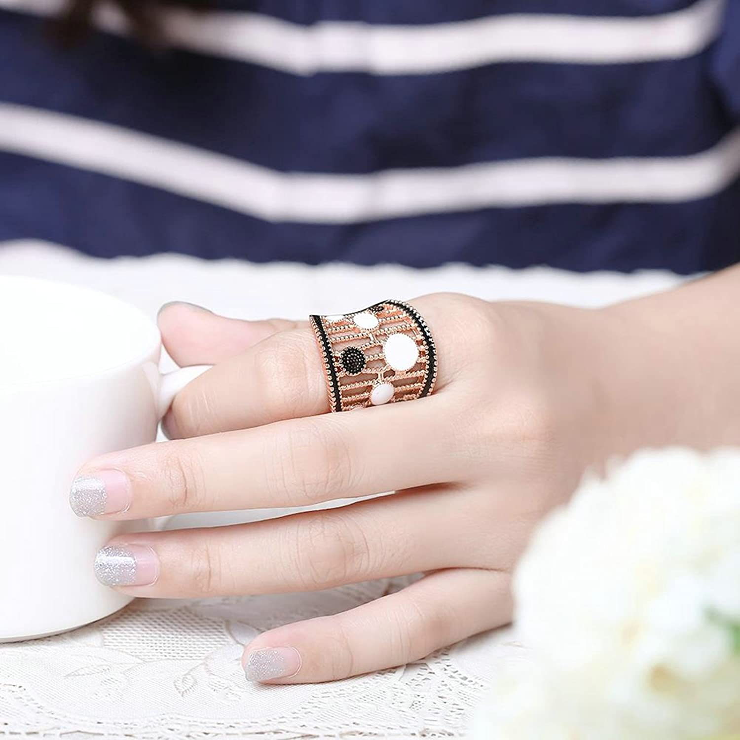 Gnzoe Jewelry 18K Rose Gold Plated Women Rings Design Hollow Geometry Size 7