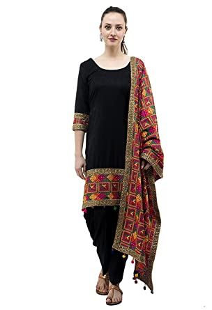 335dbf712b Amazon.com: Punjabi Salwar Suit - Simple and Elegant - Perfect For Girls  and Women wondering For Punjabi Look - With Complimenting Phulkari Dupatta:  ...