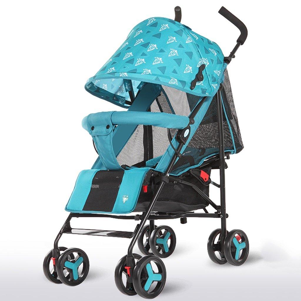 HAIZHEN マウンテンバイク プッシュプッシュプッシュ軽量Foldableは、子供のトロリーを横たえて座ることができますフルネットワーク換気調節可能な天井炭素鋼EVAフォームショックアブソーバーホイール赤ちゃんキャリッジ38 * 61 * 102cm 新生児  青 B07DS2VNNY