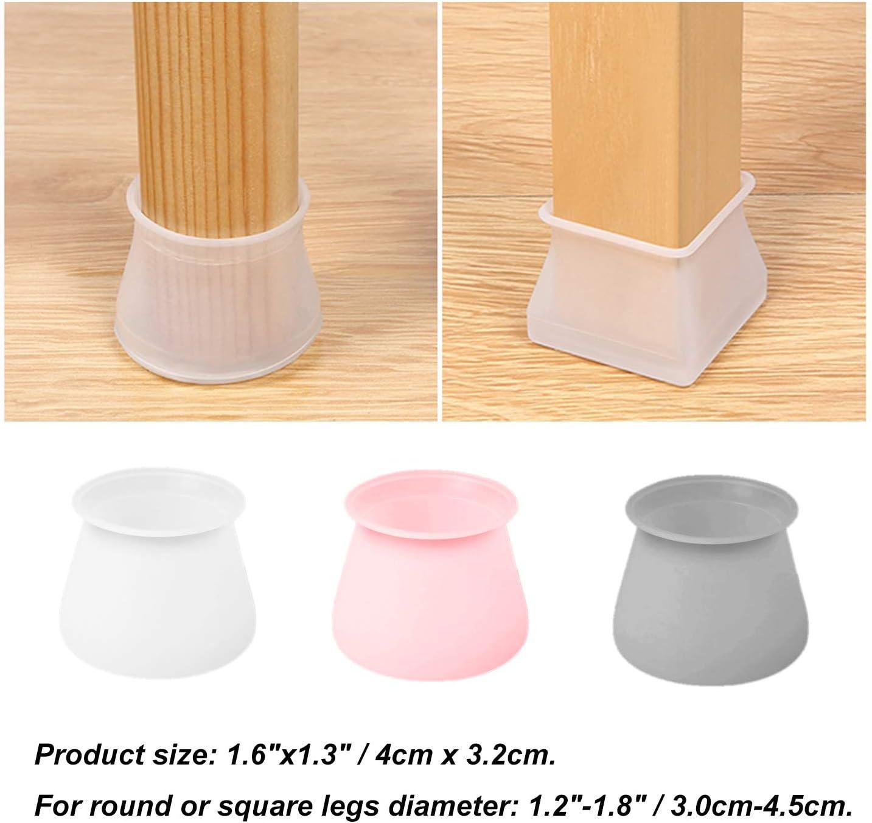 blanco BlueCosto para patas de muebles y mesas 12 x 24 x 36 unidades Tapas de silicona para patas de silla para patas cuadradas redondas protectores de suelo para evitar ara/ñazos y ruido