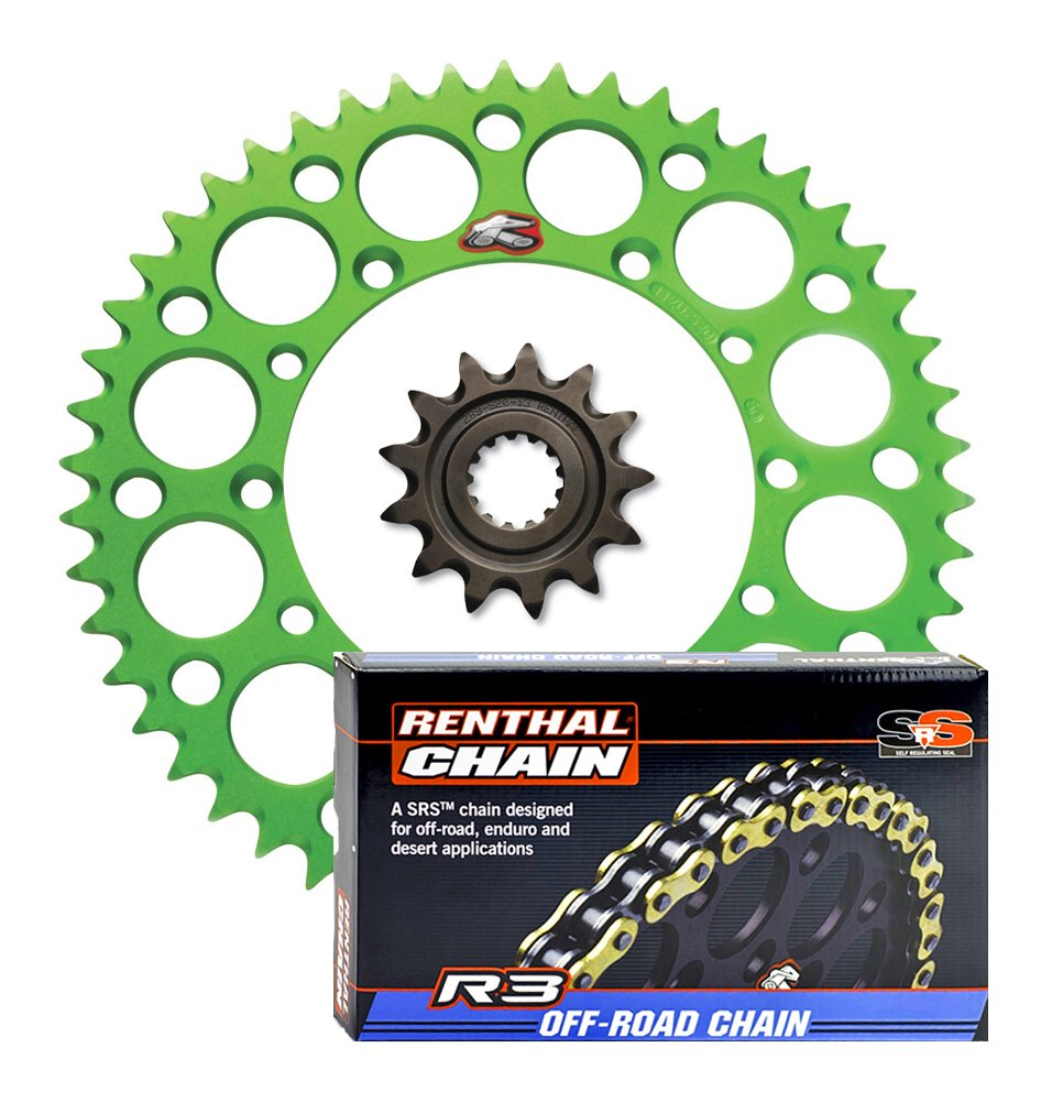 compatible with 2006-on Kawasaki KX250F Renthal Grooved Front /& Ultralight Rear Sprockets /& R3 O-Ring Chain Kit 12//53 GREEN