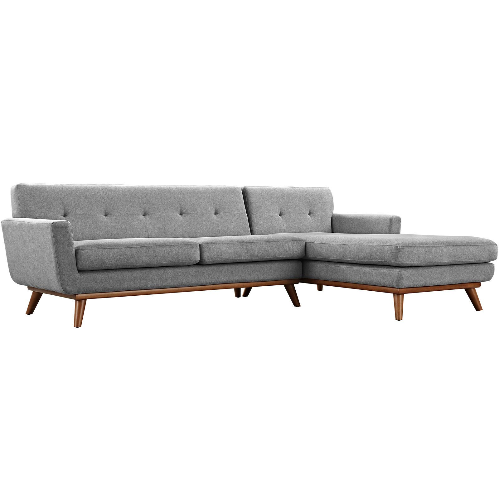 Modway Engage Mid-Century Modern Upholstered Fabric Right-Facing Sectional Sofa in Expectation Gray by Modway