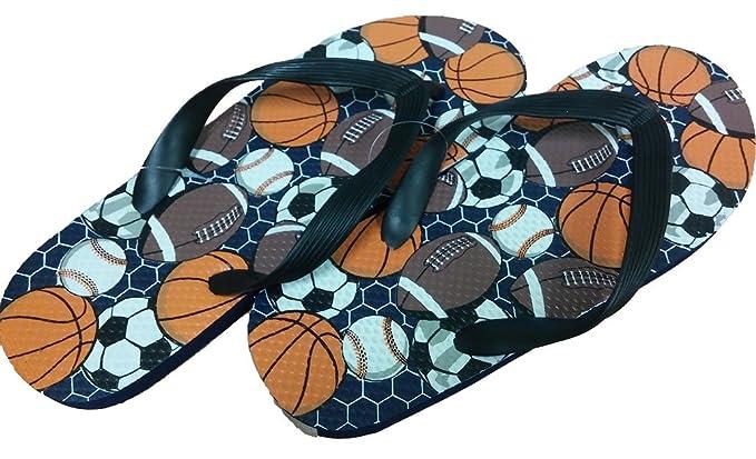 8230d65740a Tek Gear Boys Flip Flops Shower Shoes Summer Sandals Sport Balls X-Large 7