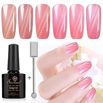 Juego de 6 esmaltes de uñas Saviland Pink Series Cat Eye de gel + barra magnética de 10 ml: Amazon.es: Belleza