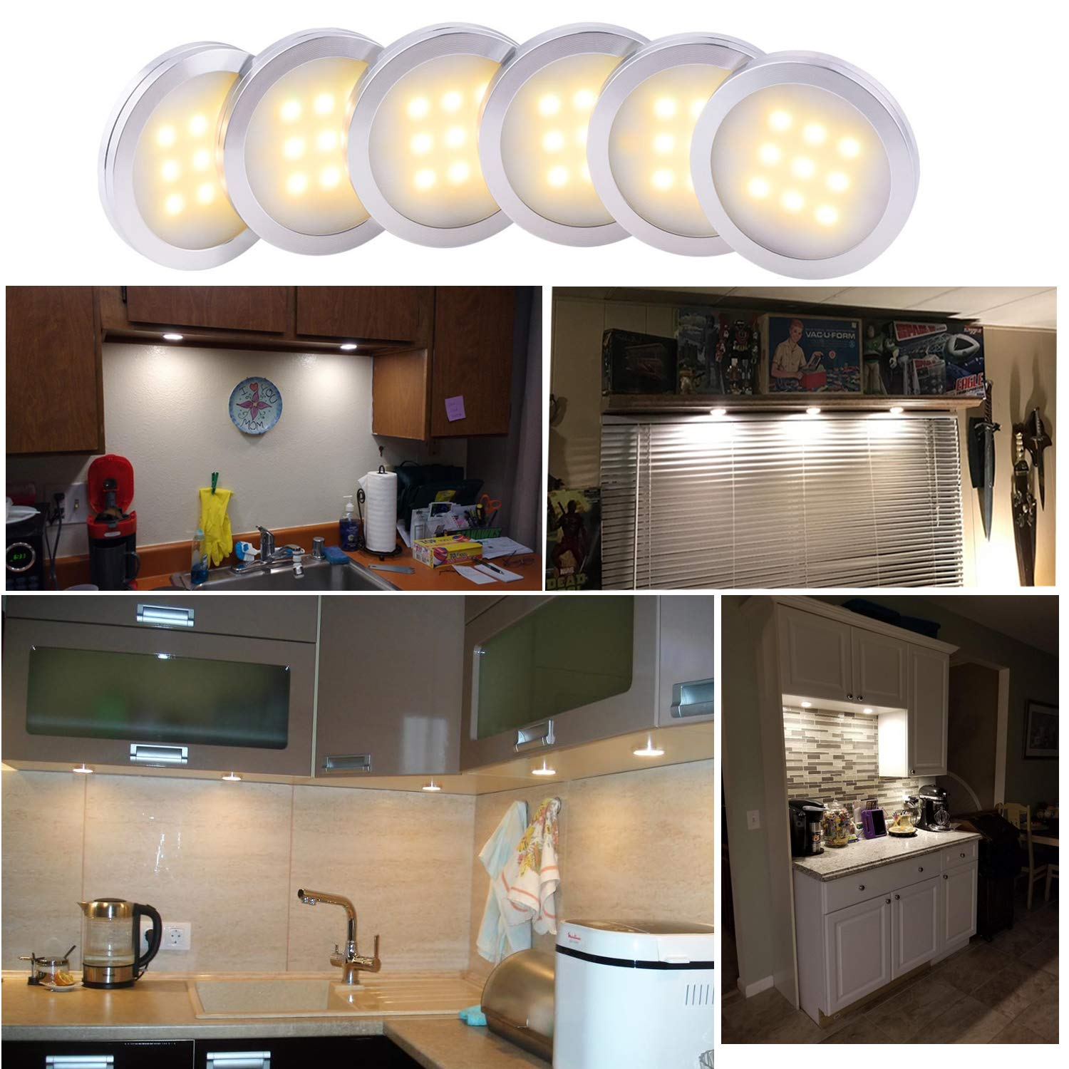 AIBOO Dimmable LED Under Cabinet Lighting, Counter Showcase Kitchen Lighting Fixtures with 12V Plug in adapter and Dimmable Wireless Remote Control, 6 Ultra Slim Puck Lights Kit (Warm White) by AIBOO (Image #6)