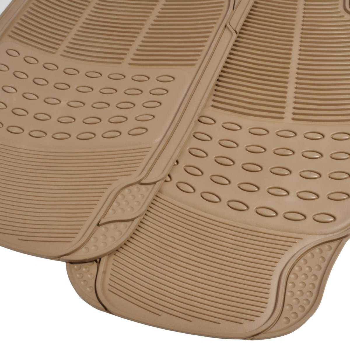 BDK Front and Back ProLiner Heavy Duty Rubber Floor Mats for Auto Tan Beige 3 Piece Set