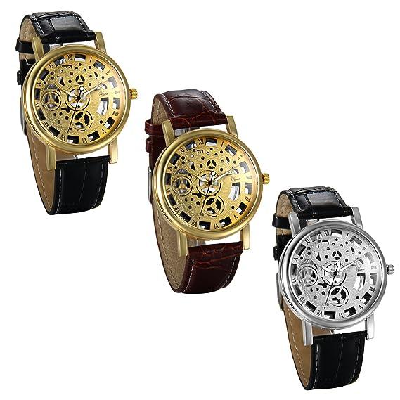 JewelryWe 3pcs Relojes de Hombre Caballero Retro Vintage Reloj Correa de Cuero Hueco de Estilo Mecanico, Elegante Reloj Cuarzo para Hombre, Regalo Dia del ...