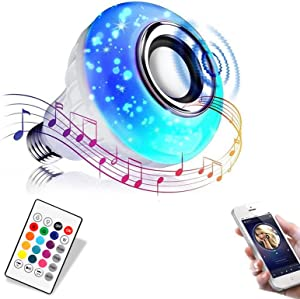 Jetencn Bluetooth Light Bulb with Speaker, Smart LED Music Play Bulb with 24 Keys Remote Control 12W Power E26 Base Changing Color Lamp for Bar Decoration, Home, KTV,Party, Restaurant