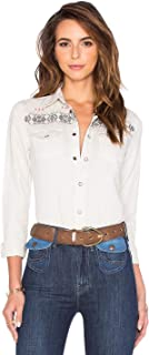 product image for MOTHER All My Ex's Embroidered Vintage Off White Western Snap Front Shirt - XS