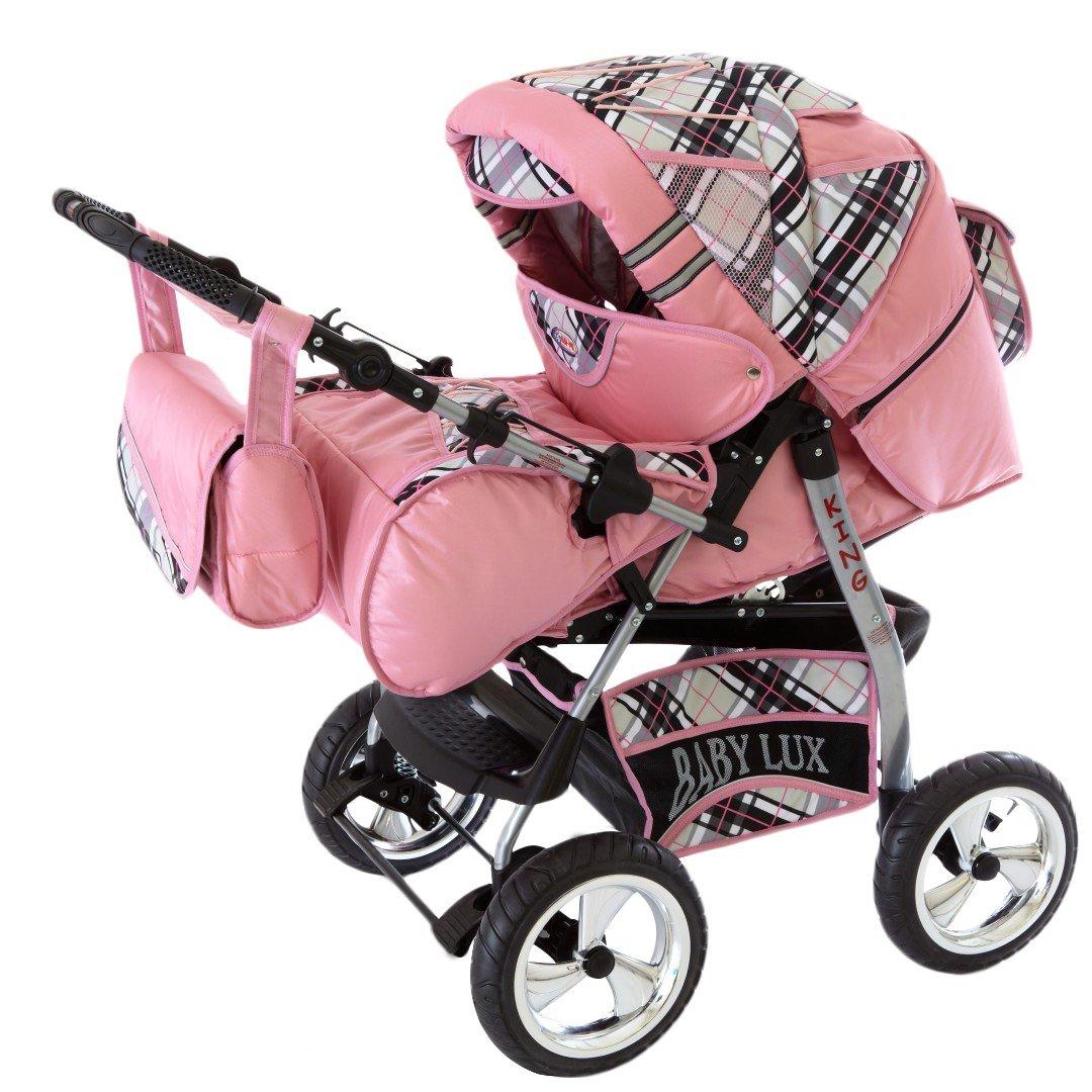 02 zarzamora /& rosa cubierta de lluvia, mosquitero, con la bandeja para el cochecito, colchones, cambiador Lux4Kids King 2 en 1 Cochecito Combinado