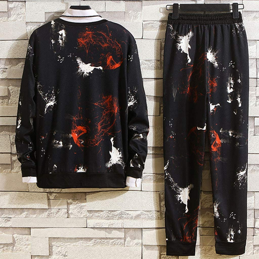 Mens Tracksuit Set Plus Size Dye Print Sweatsuits Outfits Long Sleeve Pullover and Pants Two Piece Sportswear Suit