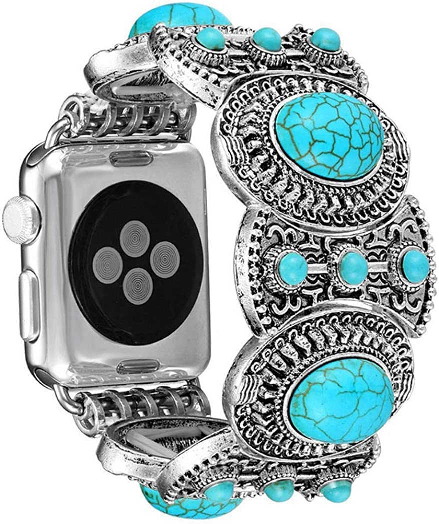 ZOOZOOT Compatible Apple Watch 38mm 40mm 42mm 44mm Women, Vintage Antique Retro Modern Style Turquoise Bracelet Strap Replacement Wristband for iWatch Series 1,2,3,4,5,6,SE