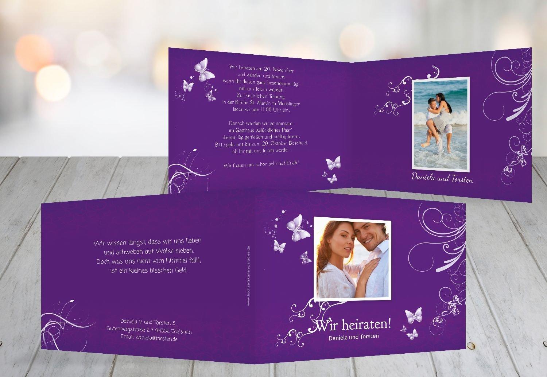 Kartenparadies Hochzeitskarte Hochzeit Einladung butterfly, hochwertige Einladung zur Heirat Heirat Heirat inklusive Umschläge   10 Karten - (Format  148x105 mm) Farbe  Lila B01N9U43EW | Online Outlet Store  | Ideales Geschenk für alle Gelegenheiten  | Moderne u 0bbe86