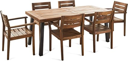 Amazon Com Christopher Knight Home Avon Outdoor Acacia Wood Dining Set 7 Pcs Set Teak Finish With Rustic Metal Accents Garden Outdoor