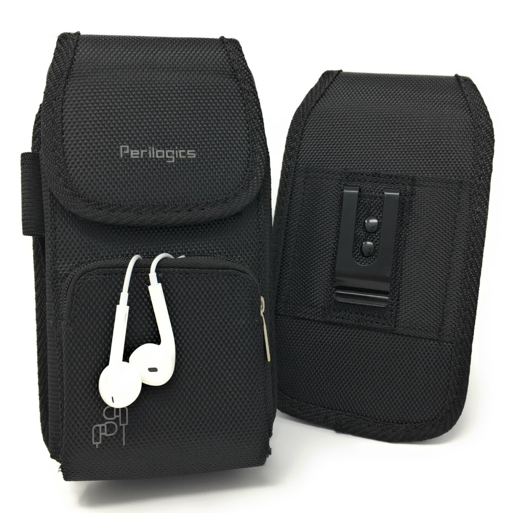 Perilogics Belt Holster for iPhone Xs Max, Xr, 8 Plus with Armor Type Phone Cases. Strong Velcro Closure with Dual Directional Zipper Storage and Credit Card Pocket. (Black/Velcro) by Perilogics