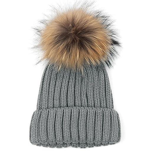 d987f5b7d7e LUXEHOME Handmade Womens Girls Winter Premium Large Raccoon Fur Pom Pom Cap  Knit Beanie Hat (